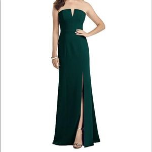 Dessy Collection Strapless Notch Crepe Gown 8 3062
